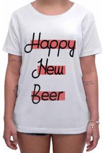 Camiseta Impermanence Estampada Happy New Beer Feminina - Feminino-Branco