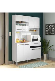 Cozinha Compacta 8 Portas 1 Gaveta Ac810 Branco/Preto - Decibal Móveis