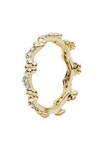 Anel Shine Tiara De Flores- Dourado- Tamanho 44 = 4 Pandora