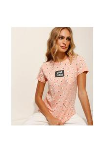 "Camiseta Estampada Floral ""Good Vibes"" Manga Curta Decote Redondo Rosa Claro"