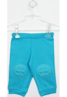 Calça Bebê Suedine Liso Com Joelheira - Unissex-Azul
