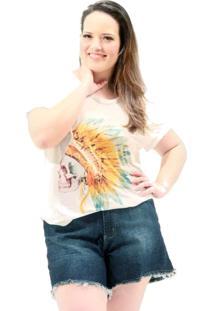 Camiseta Vickttoria Vick Cocar Caveira Plus Size