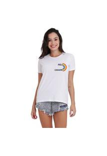 Camiseta Jay Jay Basica Felicidade Branca Dtg