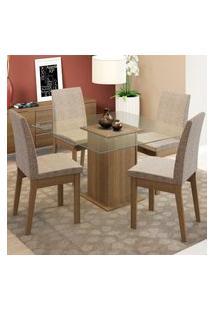 Conjunto Sala De Jantar Madesa Luma Mesa Tampo De Vidro Com 4 Cadeiras Marrom