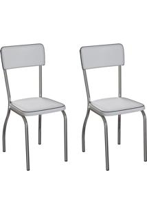 Conjunto Com 2 Cadeiras Nowra Branco E Cromado