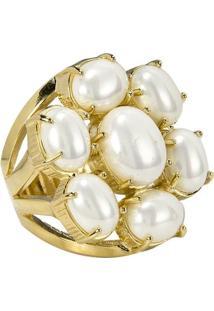 Anel Banho De Ouro Flor De Perola - Feminino-Branco