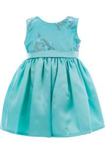 Vestido Digo Bru De Cetim Com Tule Bordado Azul Claro