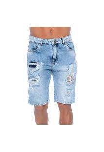 Bermuda Jeans Com Rasgos 7 Emporio Alex