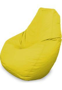 Puff Gota Em Courino Amarelo