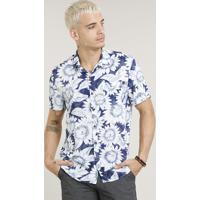 5db0dbb67a CEA. Camisa Masculina Estampada De Girassol Com Bolso Manga Curta Azul