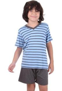 Pijama Infantil Masculino - Masculino-Azul Claro