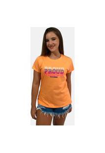T-Shirt Camiseta Feminina Girlboss Manga Curta Laranja