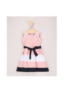 Vestido Infantil Com Recortes E Faixa Para Amarrar Sem Manga Rosa Claro