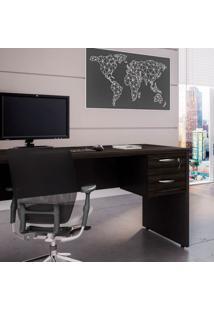 Mesa De Escritório Com Gaveteiro Web Preta E Ébano 120 Cm
