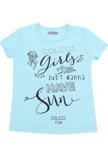 Camiseta Colcci Fun Menina Escrita Azul