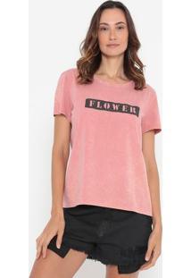 "Camiseta ""Flower""- Rosê & Preta- Malweemalwee"