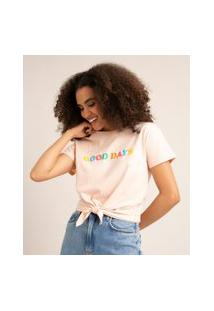 """Camiseta De Algodão Manga Curta Com Nó Frontal """"Good Days"""" Rosa Claro"""
