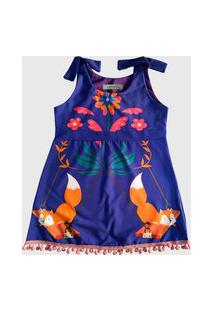 Vestido Infantil Ummi Raposinha Azul