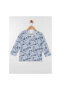 Pijama Longo Infantil Para Menino - Azul/Azul Marinho