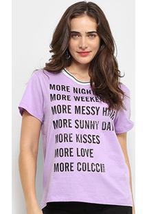 Camiseta Colcci More Happiness Feminina - Feminino-Lilás+Azul