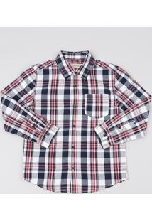 Camisa Infantil Estampada Xadrez Com Bolso Manga Longa Branca