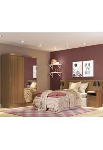 Dormitório Completo Rustic C/ Roupeiro Cabeceira E Mesa De Cabeceira Oslo Madesa