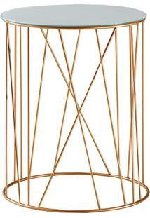 Mesa De Apoio Trama 45 Cm Alta Aço Dourado / Vidro Branco - Gran Belo