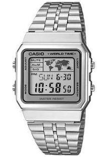 Relógio Feminino Casio Vintage A500Wa-7Df Digital Resitente À Água Com Data - Feminino-Prata