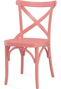 Cadeira De Madeira Tipo Restaurante Madeleine Laca Rosa Coral - 50X54,5X86 Cm