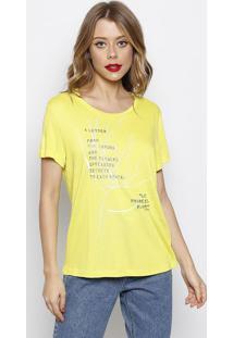 Camiseta Com Inscrições- Amarela Prateada- Forumforum