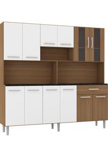Cozinha Compacta 12 Portas E 1 Gaveta C/ Tampo Clara - Poliman - Amendoa / Branco
