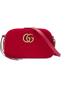 6057b2aa9 Gucci Bolsa 'Gg Marmont' Pequena De Veludo - Vermelho