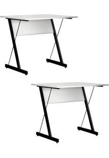 Kit 2 Mesas Para Computador Fit Mobel Escrivaninha Zetta 90Cm Pés Metálicos Branco