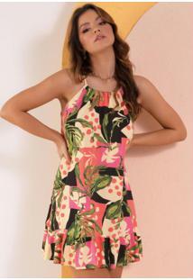 Vestido Floral Étnico Com Babados Na Barra