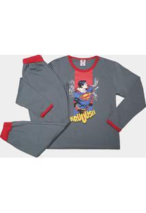 Pijama Infantil Lupo Longo Superman Masculino - Masculino-Chumbo+Vermelho