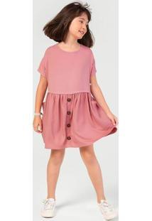 Vestido Infantil Menina Com Botão Hering Kids