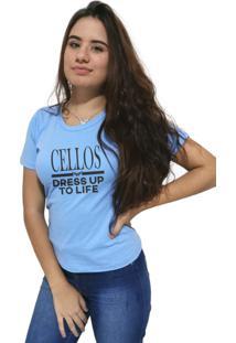 Camiseta Feminina Cellos Dress Up Premium Azul Claro - Kanui