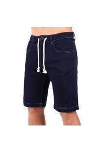 Bermuda Jeans Vida Marinha Cós Ajustável Azul Marinho