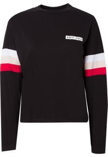 Camiseta Rosa Chá Stripe Malha Preto Feminina (Preto, M)