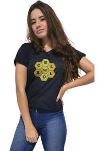 Camiseta Gola V Cellos Honey Premium Feminina - Feminino-Preto