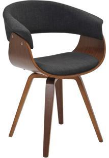 Cadeira Decorativa Para Escritório Recepção Ohana Fixa Linho Grafite - Gran Belo