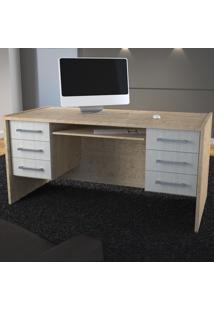 Mesa Para Computador 6 Gavetas 100% Mdf 1291 Marfim Areia/Branco Tx - Foscarini