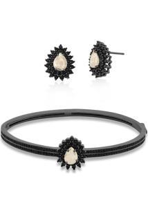 Conjunto Brinco E Bracelete Com Zircônias Folheado A Ródio Negro