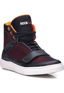Tênis Rockfit Red Hot Em Couro Preto E Laranja