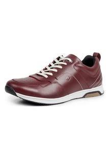 Tênis Over Boots Jogger Run4 Couro Marsala Bordo