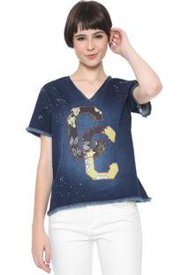 Camiseta Coca-Cola Jeans Bordada Azul