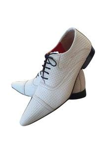 Sapato Masculino Italiano Oxford Em Couro Art Sapatos Branco
