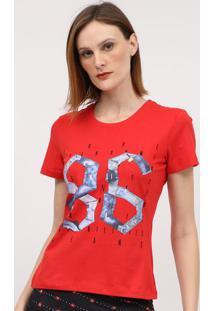 """Camiseta """"86""""- Vermelha & Azul- Coca-Colacoca-Cola"""