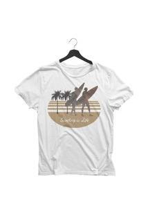 Camiseta Jay Jay Basica Surfing Is Life Branca Dtg
