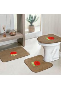 Jogo Banheiro Dourados Enxovais Standard Rosas 3 Peças Castor